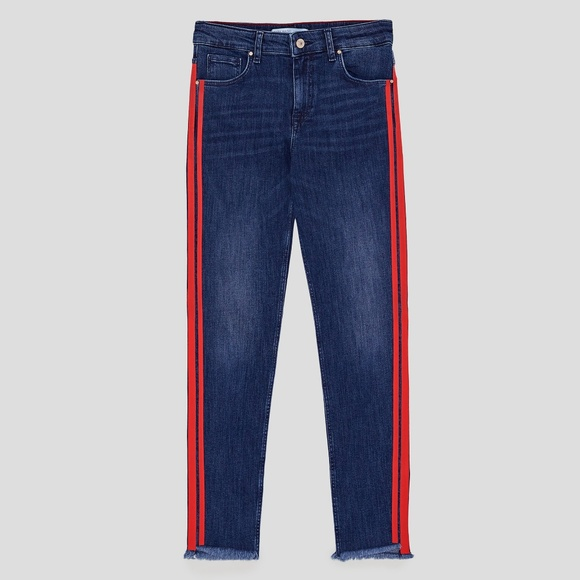 25e860ea Zara jeans with double red side piping. M_5acbcf77caab44e9495be209
